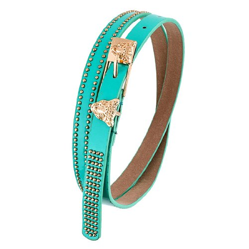 Turquoise Leopard Gold Beaded Belt, One Size 32