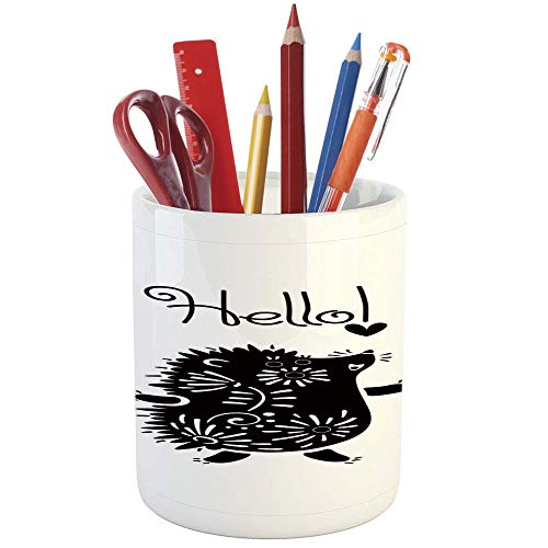 Pencil Pen Holder,Hedgehog,Printed Ceramic Pencil Pen Holder for Desk Office Accessory,Black and White Doodle Animal with Spikes Flowers Hello Quote Funny Illustration Decorative