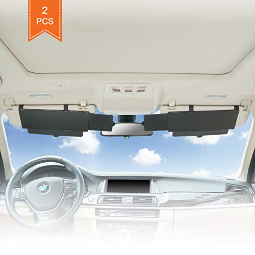 Cheap TFY Car Visor Sunshade Extender Anti-Glare Sun Visor Extender Window Sunshade and UV Rays Blocker - Black (2 Pieces)
