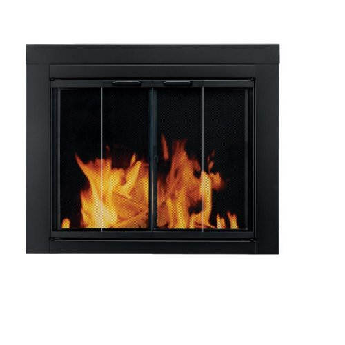 Fireplace Hearth Dimensions (Pleasant Hearth AT-1002 Ascot Fireplace Glass Door, Black, Large)