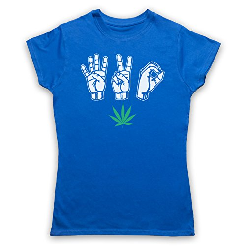 420 Cannabis Leaf Weed Pot Culture Fingers Camiseta para Mujer, Azul Real, XL