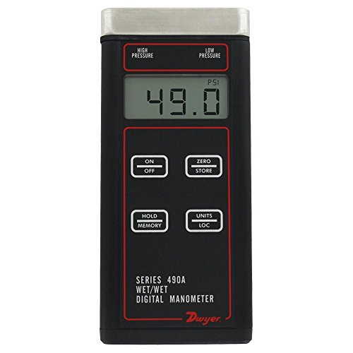 Dwyer® 490A Wet/Wet Handheld Digital Manometer, 490A-5, 0 to 500 psi (0 to 3448 kPa) by Dwyer