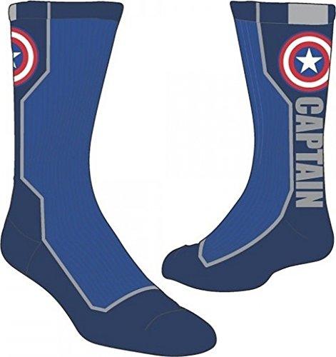 Marvel Captain America Text Mens Active Crew Socks ()