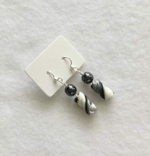 Silver Black Pearl White Twist Bead Earrings Handcrafted Polymer Clay French Hooks Dangle Just for Your Ears