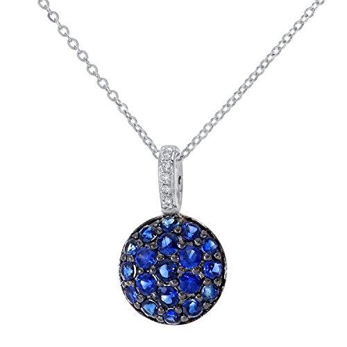 Revoni Bague en or blanc 9carats-0,5carat Diamant et Saphir Pendentif Rond avec chaîne de 46cm