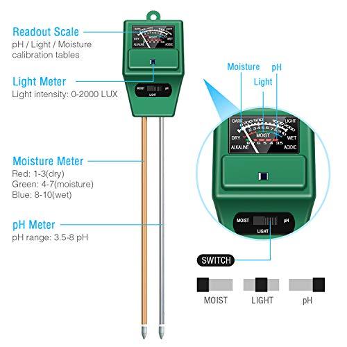 Atree Soil pH Meter, 3-in-1 Soil Test Kits
