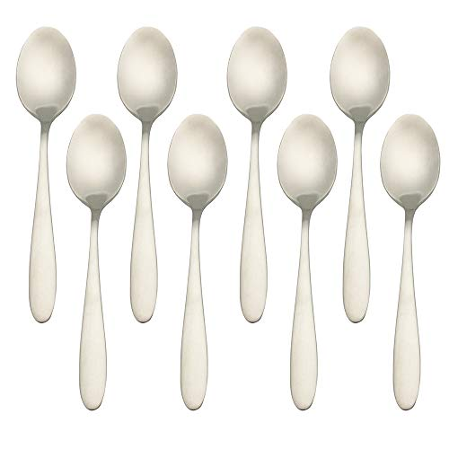 Higer Home 18/10 Stainless Steel Coffee Spoons Espresso Demitasse Spoons Set of 8pcs, Heavy Duty Satin Flatware Silverware Cutlery Set, Silver 4.9-Inch (Coffee Spoon) ()