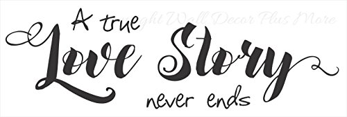 A True Love Story Never Ends Inspirational Love Quotes Wall Decals, Black, 36x11-Inch -