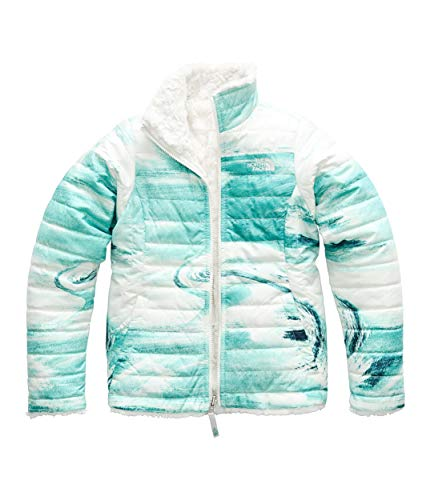 The North Face Girl's Reversible Mossbud Swirl Jacket - Kokomo Green Snow Wave Print - XXS