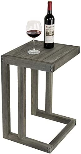 MyGift Under-The-Couch Vintage Gray Wood Accent Sofa Table