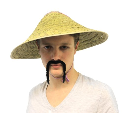 CHINESE ORIENTAL COOLIE HAT & CHINA MAN MOUSTACHE FANCY DRESS COSTUME SET  ASIAN STRAW HAT: Amazon.co.uk: Toys & Games