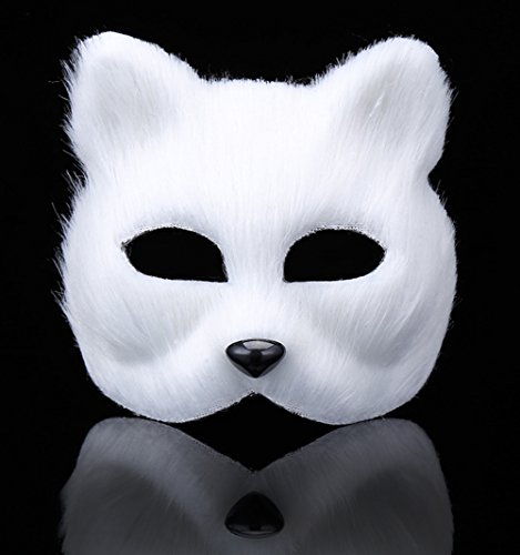 Lovely White Fox Plush Mask,Best Choice for Masquerade, Halloween, Cosplay, Party - Easy Freak Show Costumes