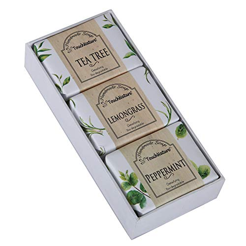 Touch Nature Mini Herbal Garden (Tea Tree, Peppermint and Lemongrass)- 3 pc of 50g Bar & Castile Soap, Natural, Handmade, No Sulphates, Parabens & Dye. Perfect Soap Gift Soap for Men and Teenage.