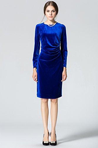 Printemps Robe Manche Robes lgant Cocktail Au Genou Minetom Velours 4 3 Vintage Bleu t Femme de Robe Soire RfUqqAnxw5