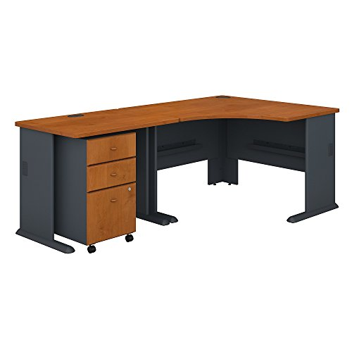 Bush Business Furniture Series A 48W Corner Desk with 36W Return and Mobile File Cabinet in Natural Cherry and Slate