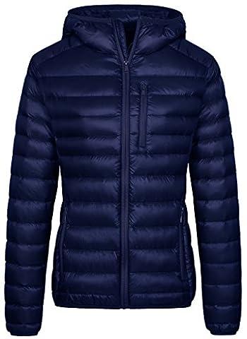 Wantdo Women's Hooded Packable Ultra Light Weight Down Jacket(Navy, Medium) (Ultra Blue)