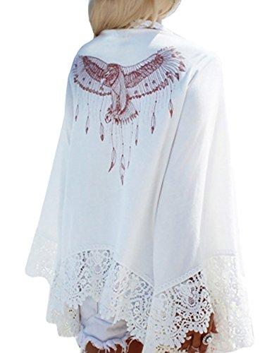 GAMISOTE Womens Chiffon Lace White Kimono Beach Eagle Print Swimsuit Cover (Junior Eagle)