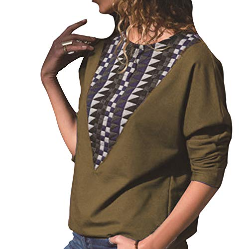 Longues T Col Shirt Basique d'pissage Tunique Shirt Manches Pullover Top Shujin Imprims Casual Couleurs Vert Blocs Rond Chauve Blouse 0nqRHaHg