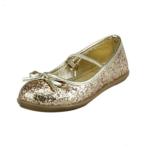 Wedding Flower Girl's Glitter Sparkly Ballet Flat Shoes w/ Elastic Strap Toddler Size (11, Gold) by dollmaker