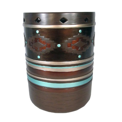 Veratex Pueblo Collection Modern Contemporary Style Patterned Resin Bathroom Waste Basket, Rust