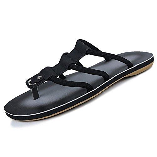 SHANGXIAN Hombres zapatillas y sandalias confort zapatos Casual plana talón negro amarillo caminar Black