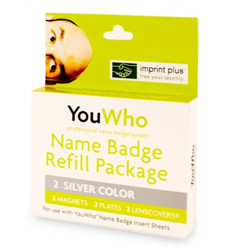 YouWho 2-Unit Professional Name Badge Refill Pack (Silver) Badge Refill