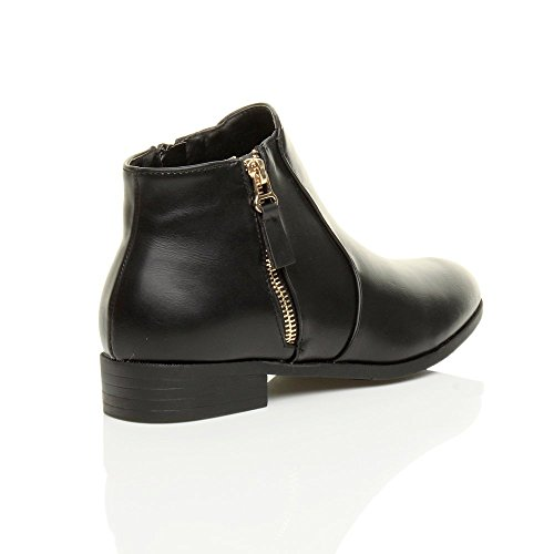Gold boots up Ajvani flat heel Zip gold ladies riding size Black booties pixie low Matte ankle Womens zip nnRpPwxfqa