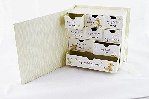New Baby Keepsake Box Drawers Cream