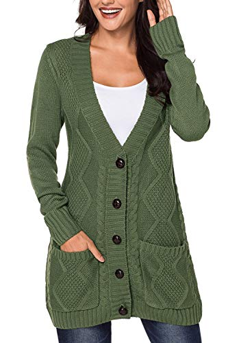 Chunky Hooded Cardigan - Viottis Women's Hooded Cable Knit Button Down Cardigans Coats with Pockets Army Green L