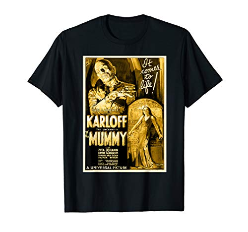 - Mens Vintage Movie Poster T Shirt - Mummy Horror Movie Tee