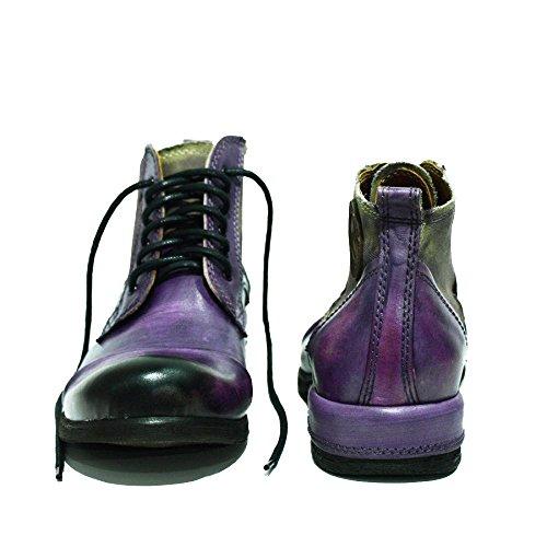 Venta Auténtica Precio Muy Barato PeppeShoes Modello Parione - Handmade Italiano da Uomo in Pelle Viola Stivali - Vacchetta Pelle Verniciata a Mano - Allacciare Súper LreH7VeFTm