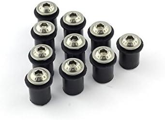10x Verkleidungsschrauben Mit Gummimutter M5 Neopren Für Verkleidungsscheibe Sw Schwarz Auto