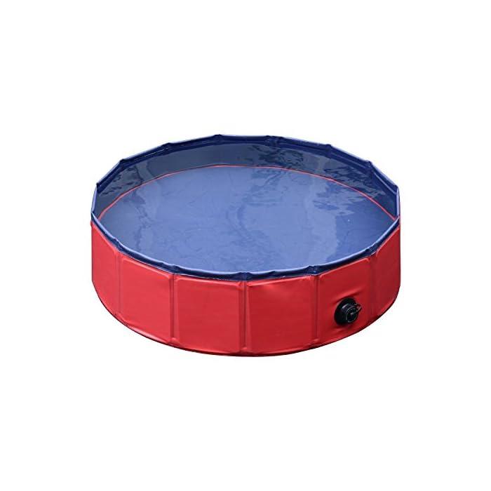 41yLaNszrbL Ideal para rinfrescarsi en días calientes – gracias a esta piscina el su perro se será un saco Apto para uso interior y exterior – Fabricada en material robusto y fuerte Válvula de desagüe del agua práctica para el drenaje – borde estable reforzado