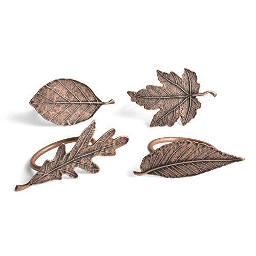 Vilmain Autumn Leaves Plated Pewter Napkin Rings, Set of 4