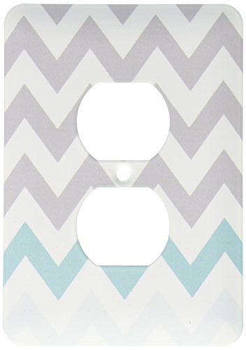 3dRose lsp_179811_6 Grey Chevron with Mint Turquoise Zig Zag