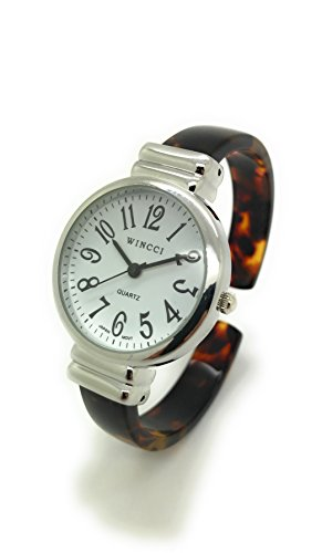 (Ladies Stylish Acrylic Bangle Cuff Fashion Watch Round Case White Dial Wincci (Tortoise Shell))