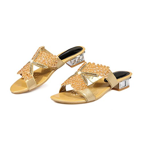 Amoonyfashion Womens Pull-on Open Teen Lage Hakken Blend Materialen Massieve Sandalen Goud