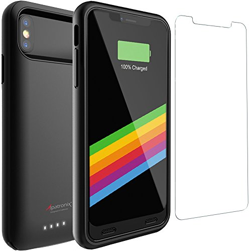 iPhone X/XS Battery Case, Alpatronix BX10 5.8-inch 4000mAh Slim Rechargeable Extended Protective Portable External Backup Charger Case Charging Cover for iPhone X, XS Juice Bank Power Pack - Black
