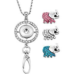 Souarts Womens Office Lanyard ID Badges Holder Necklace with 3pcs Elephant Rhinestone Snap Charms Jewelry Pendant Clip