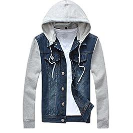 Men's Denim Hoodie Jacket Casual Trucker Jacket Jean Coat