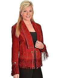 Women's Long Lapel Suede Fringe Jacket - L196 27