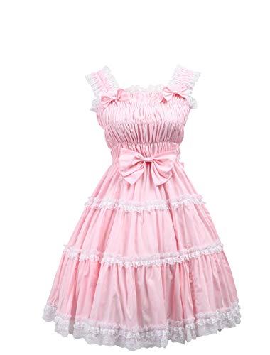 (Antaina Pink Cotton Bows Ruffle Sweet Retro Victorian Lolita Cosplay Dress,L)