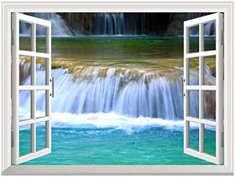 Removable Wall Sticker/Wall Mural - Natural Mountain Cascading Waterfall | Creative Window View Home Decor/Wall Decor - 36