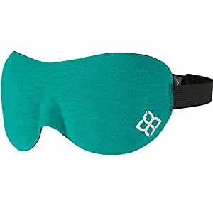 Sleep Mask by Bedtime Bliss® - Contoured & Comfortable With Moldex® Ear Plug Set. Includes Carry Pouch for Eye Mask and Ear Plugs - Great for Travel, Shift Work & Meditation (Turquoise)