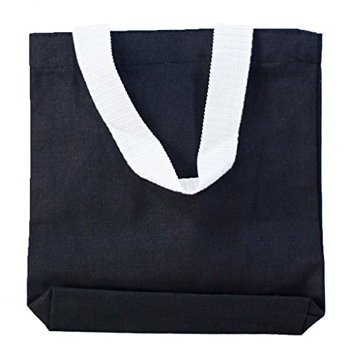 Multipurpose Cotton Canvas Tote Bags with White Handles (Small, Medium, Large ) (Small, Black) for $<!--$7.95-->