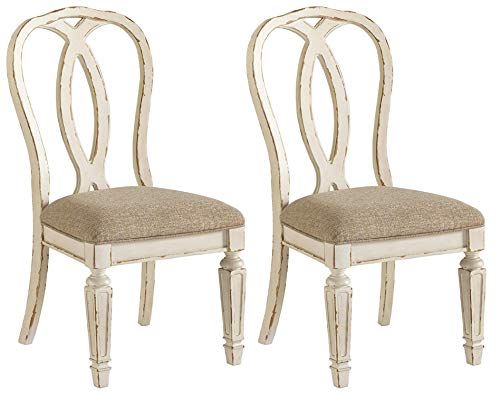Signature Design By Ashley - Realyn Dining Upholstered Side Chair - Set of 2 - Casual Style - Chipped White (Dining Chairs Oak Side)