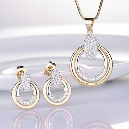 Gozebra(TM) Bling Topaz Rhinestone Unique Gold Filled Circle Pendant Necklace Set For Women