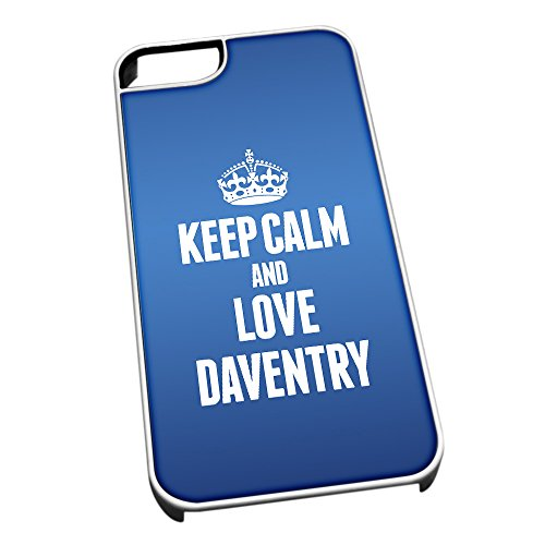 Bianco cover per iPhone 5/5S, blu 0199 Keep Calm and Love Daventry