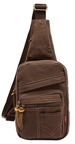 Sun*Glory Men's Women's Canvas Shoulder Sling Chest Bag Unbalance Backpack Bicycle (Coffee)