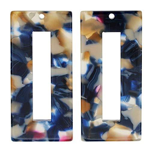 Zola Elements Acetate Pendant, Twilight Rectangle Frame 22x49mm, 2 Pieces, Blue Multi-Colored ()
